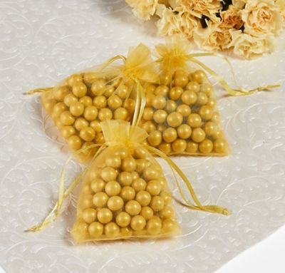 Gold Organza Wedding Favor Bags