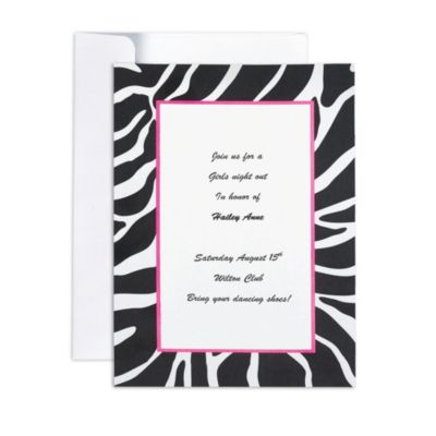 Zebra Printable Invitations 12ct
