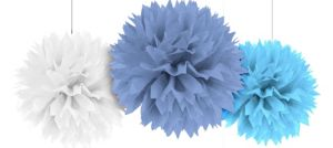 Blue & White Fluffy Decorations 3ct