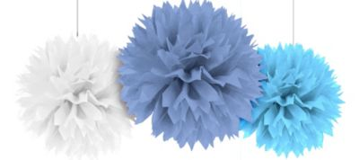 Multi Blue Fluffy Decorations 16in 3ct
