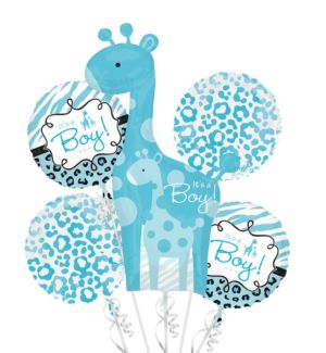 Baby Shower Balloon Bouquet 5pc - Blue Safari