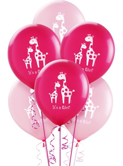 Baby Shower Balloons 15ct - Pink Safari