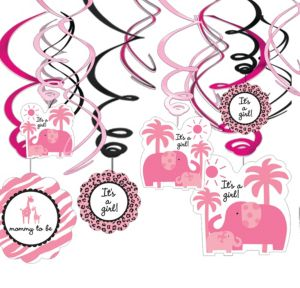 Pink Safari Baby Shower Swirl Decorations 12ct Party City