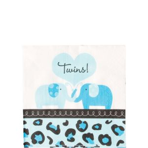 Blue Safari Twins Baby Shower Beverage Napkins 36ct