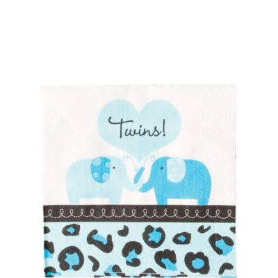 Blue Safari Twins Beverage Napkins 36ct