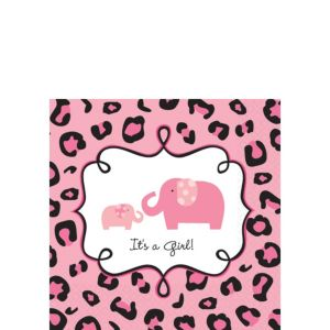 Pink Safari Baby Shower Beverage Napkins 36ct