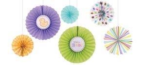 Tiny Bundle Paper Fan Decorations 6ct