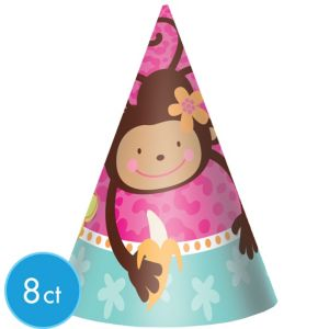 Monkey Love Party Hats 8ct