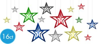 3D Multicolor Star Hanging Decorations 16ct