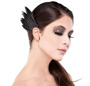 Black Feather Ear Wings