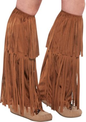 Adult Brown Fringe Leg Warmers