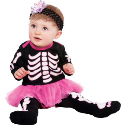 Baby Glow In The Dark Bones Tutu Dress - Skeleton