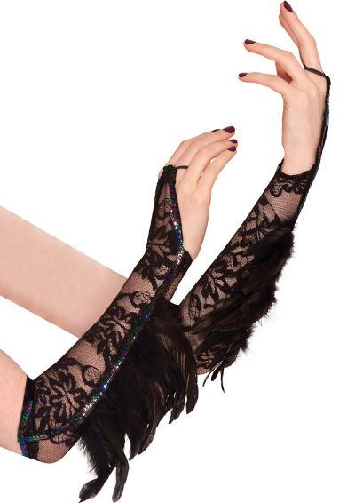 Raven Fantasy Feather Gloves