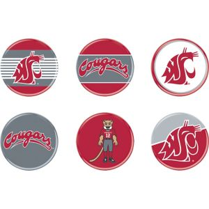 Washington State Cougars Buttons 6ct