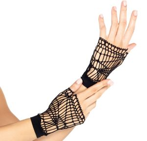 Distressed Net Fingerless Gloves