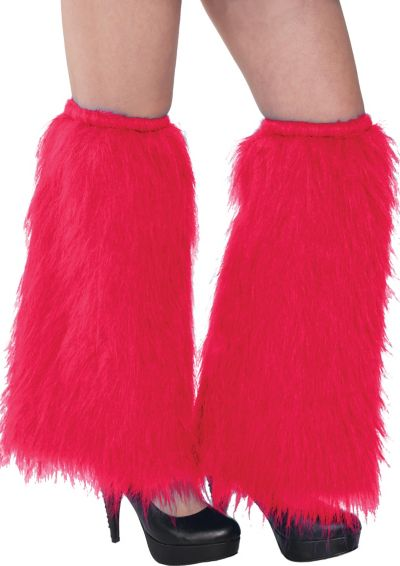 Red Furry Leg Warmers