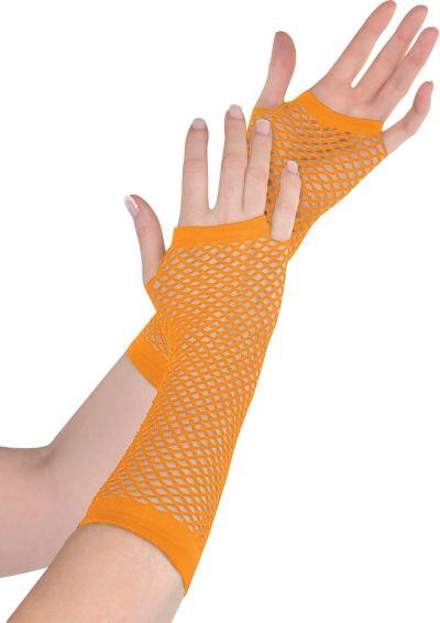 Long Orange Fishnet Gloves Deluxe