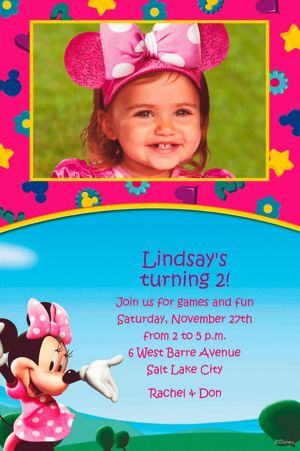 Custom Minnie Mouse Clubhouse Photo Invitations