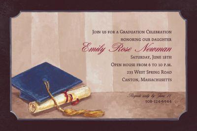 Framed Cap and Diploma Custom Graduation Invitation