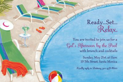 Custom Lounging by the Pool Summer Invitations