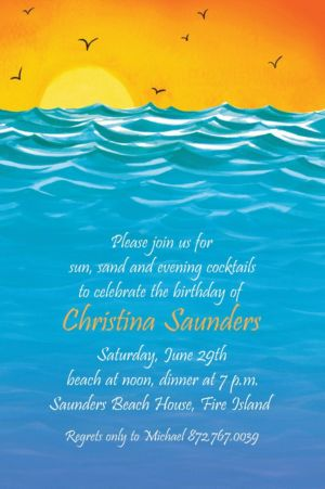 Custom Painterly Sunset View Invitations