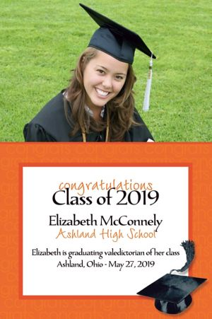 Custom Orange Congrats Grad Photo Announcements
