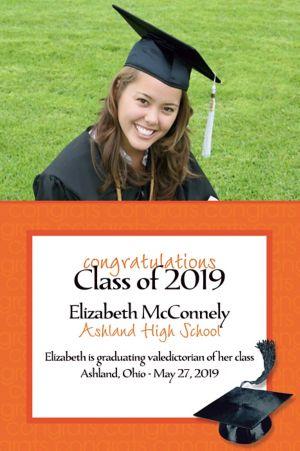 Custom Orange Congrats Grad Photo Announcements