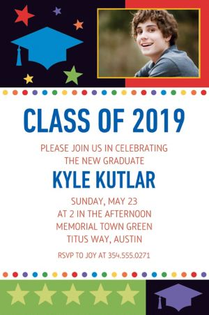 Custom Bright Grad Photo Invitations