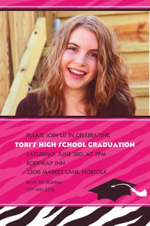 Custom Zebra Party Graduation Photo Invitations