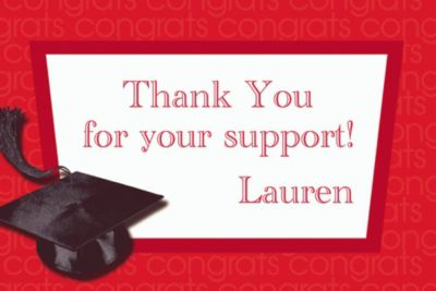 Red Congrats Grad Custom Thank You Notes