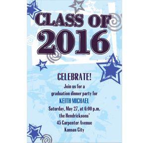 Custom Blue Class Year with Stars Graduation Invitations