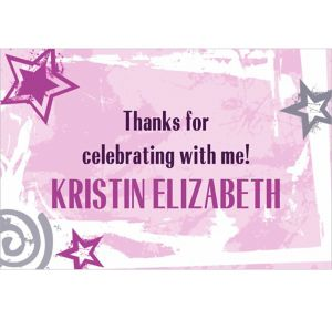 Custom Pink Class Year with Stars Graduation Thank You Notes