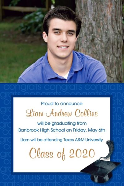 Royal Blue Congrats Grad Custom Photo Announcement