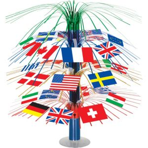 International Flag Cascade Centerpiece 18in