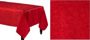 Red Damask Fabric Tablecloth