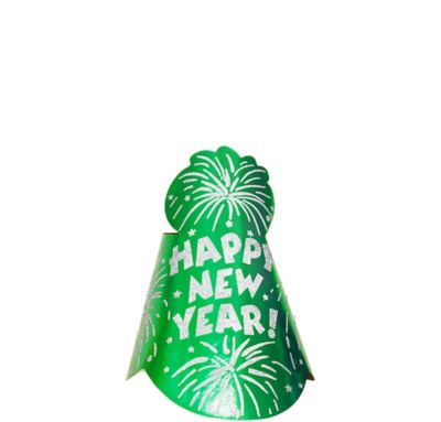 Foil Green New Year's Cone Hat