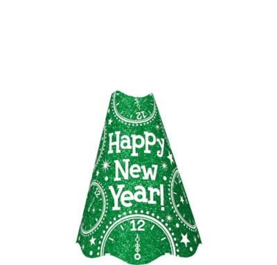 Glitter Green New Year's Cone Hat