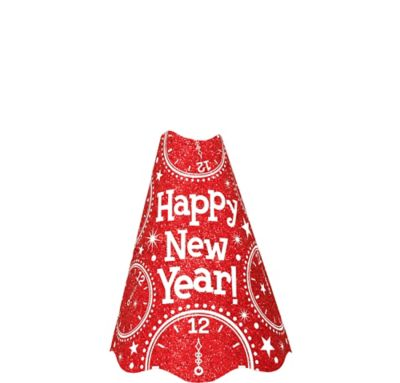 Glitter Red New Year's Cone Hat