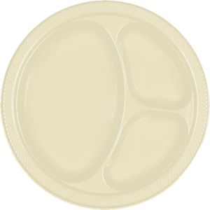Vanilla Cream Plastic Divided Dinner Plates 20ct