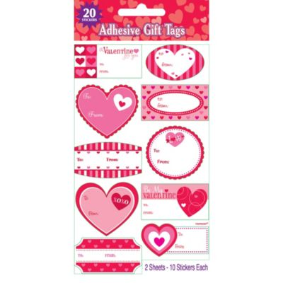 Valentines Day Adhesive Gift Tags 20ct