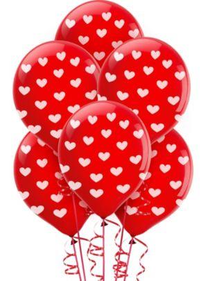 Heart Print Balloons 6ct
