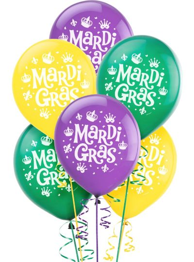 Assorted Mardi Gras Balloons 15ct Party City