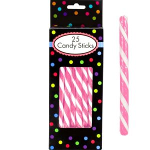Bright Pink Candy Sticks 25pc