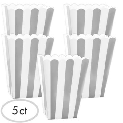 Silver Popcorn Favor Boxes 5ct