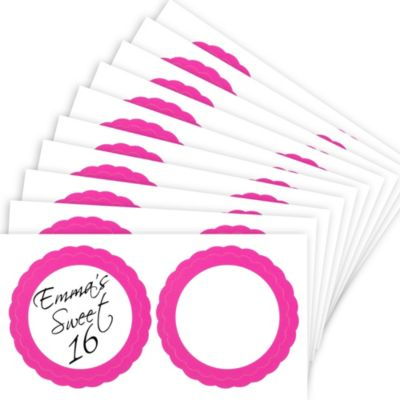 Bright Pink Favor Sticker Labels 20ct
