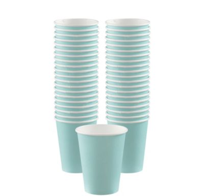 BOGO Robin's Egg Blue Paper Coffee Cups 12oz 40ct