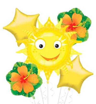 Foil Smiling Sun Balloon Bouquet 5pc