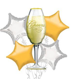 Foil Champagne Glass Balloon Bouquet 5pc