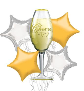 Foil Champagne Glass Balloon Bouquet 5pc