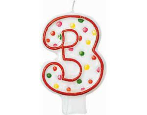 Red Outline Number 3 Birthday Candle